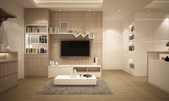 Biele obývacie steny a televízor